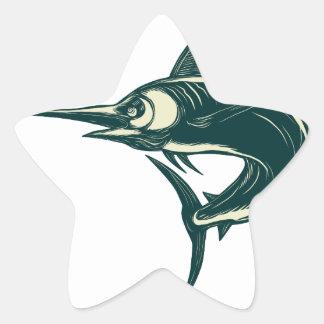 Sticker Étoile Marlin bleu atlantique Scraperboard