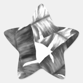 Sticker Étoile Motif tropical noir et blanc de feuille de banane