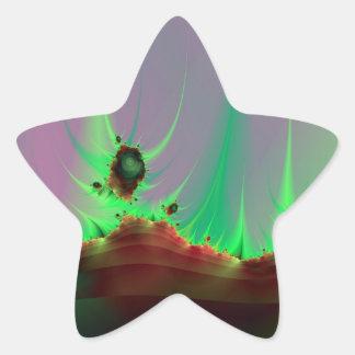 Sticker Étoile Paysage étranger dans le bâton vert