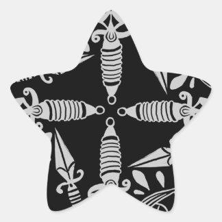 Sticker Étoile Poignards et motif graphique de tatouage de yeux