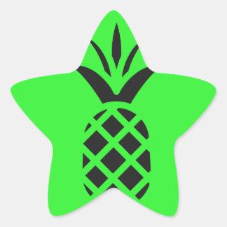 Sticker Étoile Pomme de pin noir en vert
