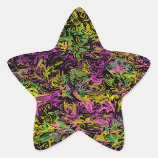 Sticker Étoile Remous lumineux de vert et jaune roses sur le noir