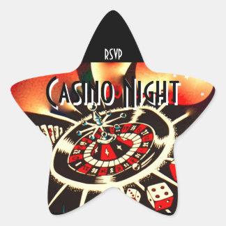 Sticker Étoile Rsvp d'étoile de partie de nuit de casino