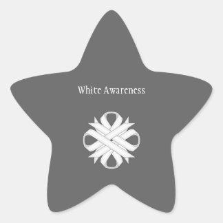 Sticker Étoile Ruban de tréfle blanc