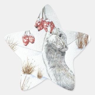 Sticker Étoile Souris mignonne et art rouge de faune de scène de