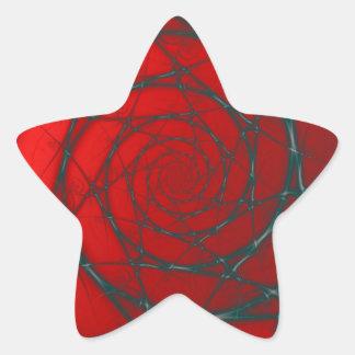Sticker Étoile Spirale de fil sur l'autocollant rouge d'étoile