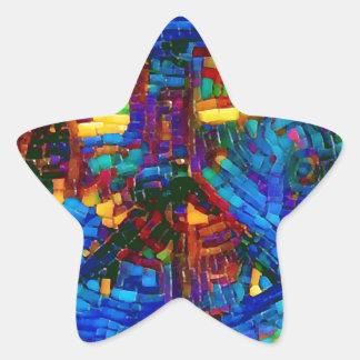 Sticker Étoile Symbole de paix coloré de mosaïque