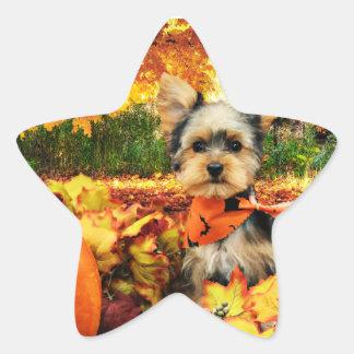Sticker Étoile Thanksgiving de chute - maximum - Yorkie