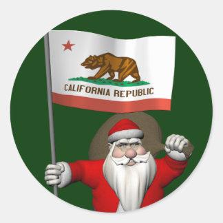 Sticker Le père noël avec le drapeau de la Californie