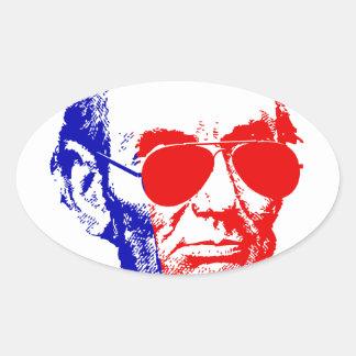 Sticker Ovale Abraham Lincoln