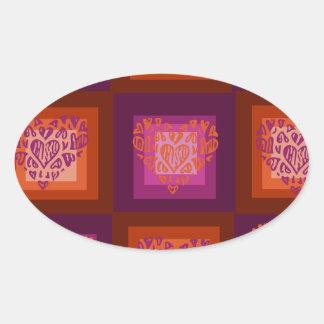 Sticker Ovale Alterner les coeurs rouges et roses sur des carrés