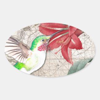 Sticker Ovale Ammaryllis de carte de Hummer II