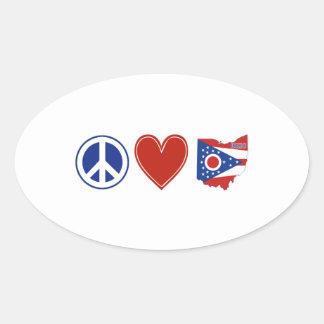 Sticker Ovale Amour Ohio de paix