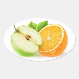Sticker Ovale Apple et orange