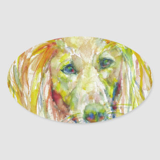 Sticker Ovale aquarelle SALUKI