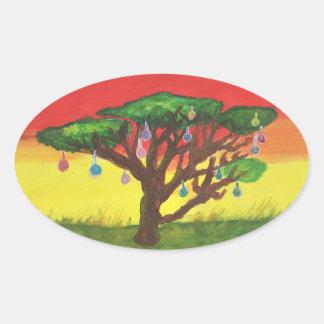 Sticker Ovale Arbre de Noël d'acacia