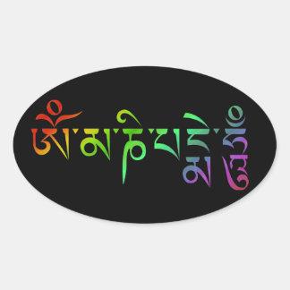 Sticker Ovale Arc-en-ciel tibétain d'incantation de