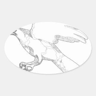 Sticker Ovale Art Swooping de griffonnage d'autour du nord