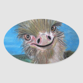 Sticker Ovale autruche