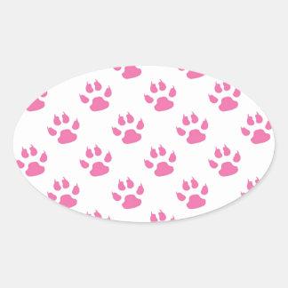 Sticker Ovale Bagout rose d'empreinte de patte de minou