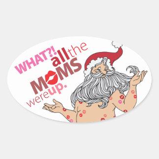 Sticker Ovale Baisers de Père Noël