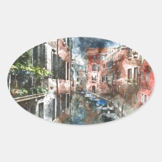 Sticker Ovale Bâtiments colorés à Venise Italie