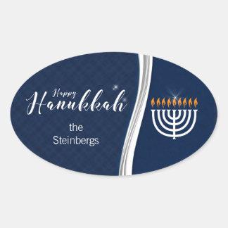 Sticker Ovale Bleu moderne et blanc avec le nom pour Hanoukka