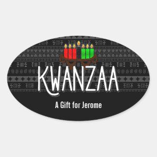 Sticker Ovale Bougies de Lit sur Kinara avec Kwanzaa et nom fait