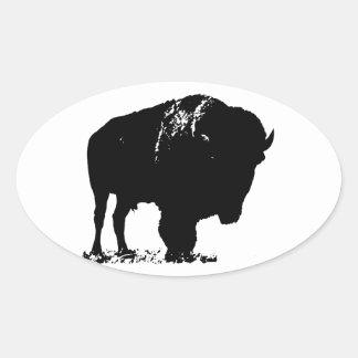 Sticker Ovale Buffalo noir et blanc de bison d'art de bruit