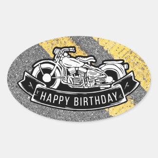 Sticker Ovale Cadeau et faveur de partie de joyeux anniversaire