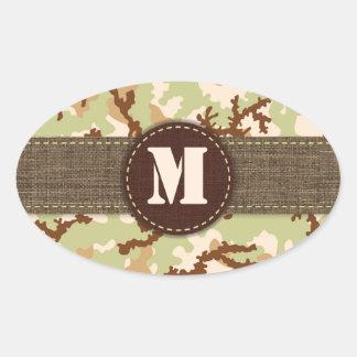Sticker Ovale Camouflage de désert