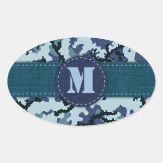 Sticker Ovale Camouflage de marine