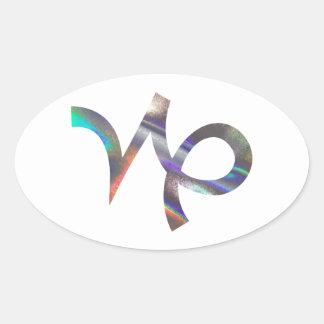 Sticker Ovale Capricorne d'hologramme