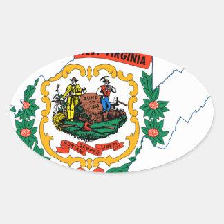 Sticker Ovale Carte de drapeau de la Virginie Occidentale