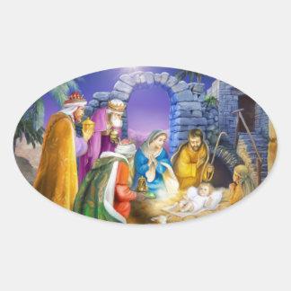 Sticker Ovale Carte de Noël chrétienne