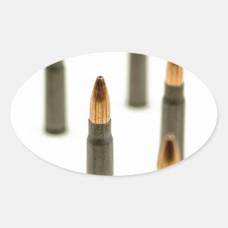Sticker Ovale Cartouche 7.62x39 d'AK47 de balle de munitions