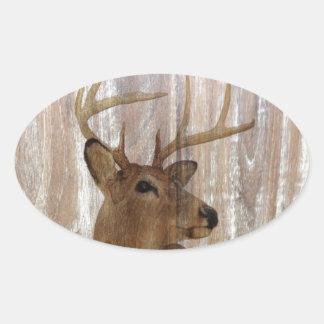 Sticker Ovale Cerfs communs primitifs occidentaux en bois de