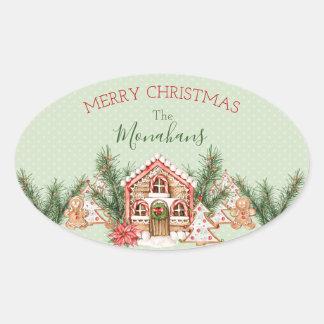 Sticker Ovale Chambre de pain d'épice de Noël de pays