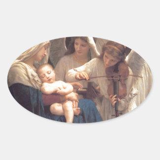 Sticker Ovale Chanson des anges - William-Adolphe Bouguereau