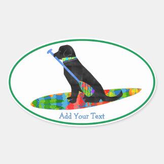Sticker Ovale Chien noir personnalisé de PETITE GORGÉE de