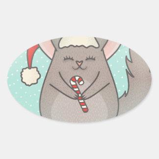 Sticker Ovale chinchillas de Noël