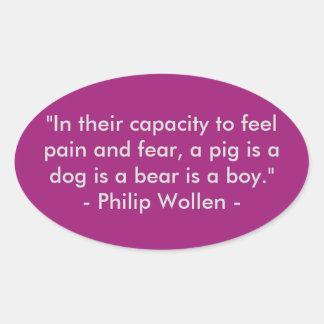 Sticker Ovale Citation de Philip Wollen - activiste de droits