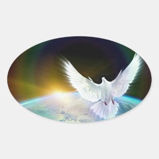 Sticker Ovale Colombe de Saint-Esprit de paix au-dessus de la