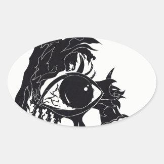 Sticker Ovale Conception abstraite d'oeil (autocollants)