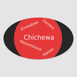 Sticker Ovale Conception de langue de Chichewa