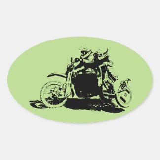Sticker Ovale Conception simple de Sidecarcross