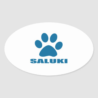 STICKER OVALE CONCEPTIONS DE CHIEN DE SALUKI