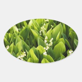 Sticker Ovale Correction de fleur du muguet