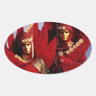 Sticker Ovale Costumes rouges au carnaval de Venise, Italie