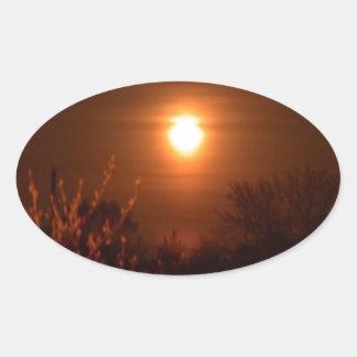 Sticker Ovale Coucher du soleil de la Virginie Occidentale